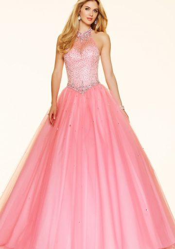 Cheap and Australia 2016 Pink Ball Gown Halter Neckline Beaded Sequins Organza Floor Length Evening Dress/ Prom Dresses 98104 from Dresses4Australia.com.au