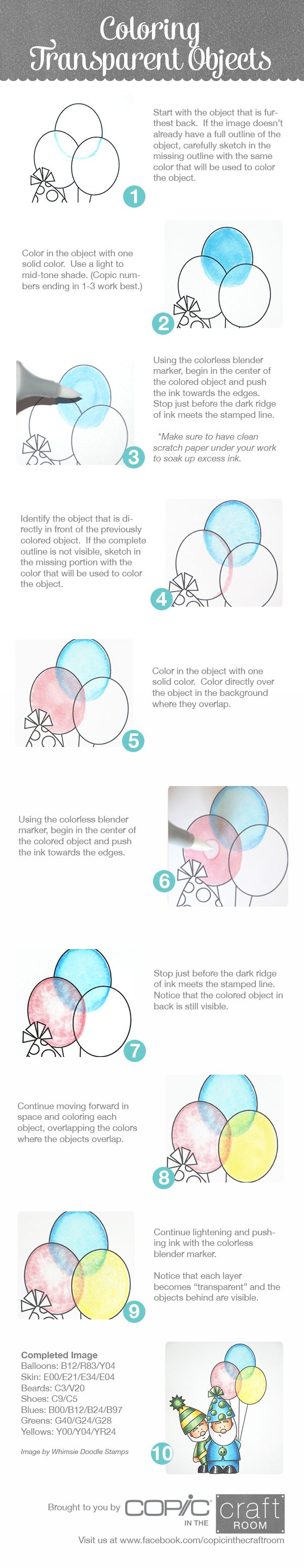 Brought to you by Copic in the Craft Room! How to color transparent objects. Image from Whimsie Doodle Stamps. Visit us at www.facebook.com/copicinthecraftroom