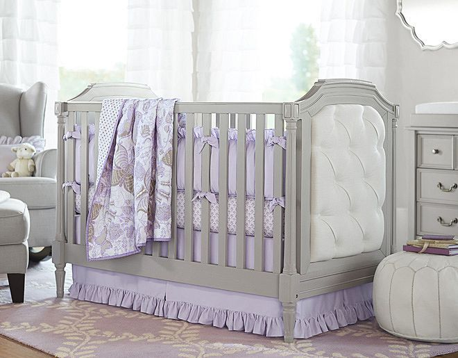 I love the Pottery Barn Kids Evelyn on potterybarnkids.com The Quilt and bedding is so beautiful and love the grey and purple together. I am definitely going to get this if we have a little girl.