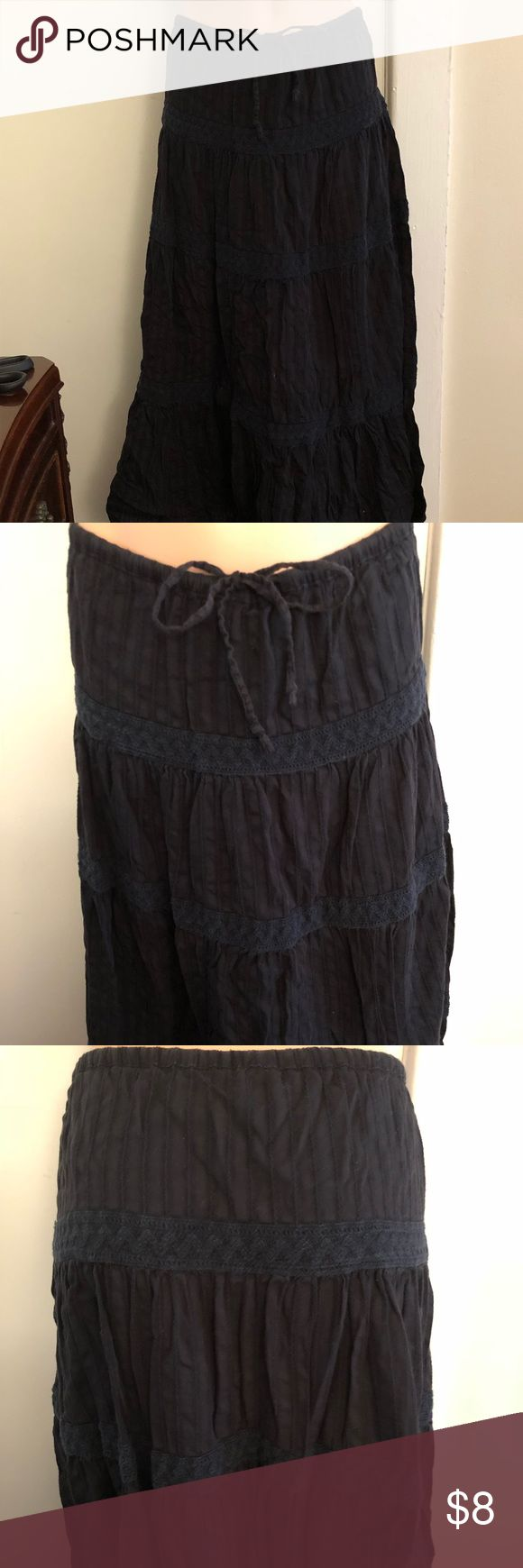 Boho Maxi Skirt - Black Boho black maxi skirt from Old Navy!  Front-tie closure and elastic waistband.  Size XXS, but can also fit sizes XS and S (runs big).  100% cotton. Old Navy Skirts Maxi