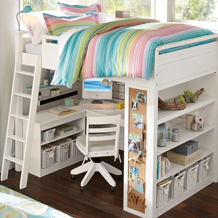 Loft Bed Pbteen I Like The Corkboard On The End Of The Bookcase And Having A Rolling Chair