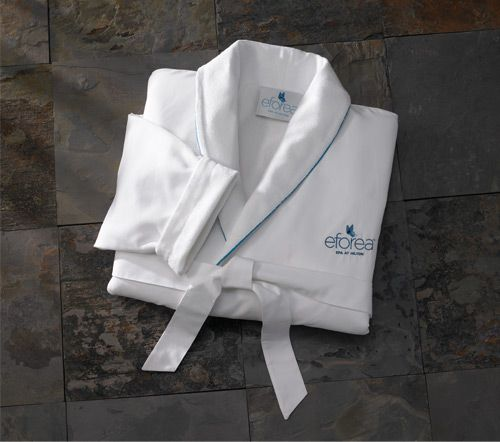 """You will love the  #HiltontoHome thirsty weave and luxurious touch of our shawl collar, microfiber bathrobe. A perfect choice for bath or bedtime comfort. 52"""" length. One size fits most. $125.00"""