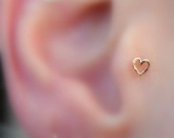 Heart Hoop Tragus Earring/Nose Ring/Helix by Holylandstreasures