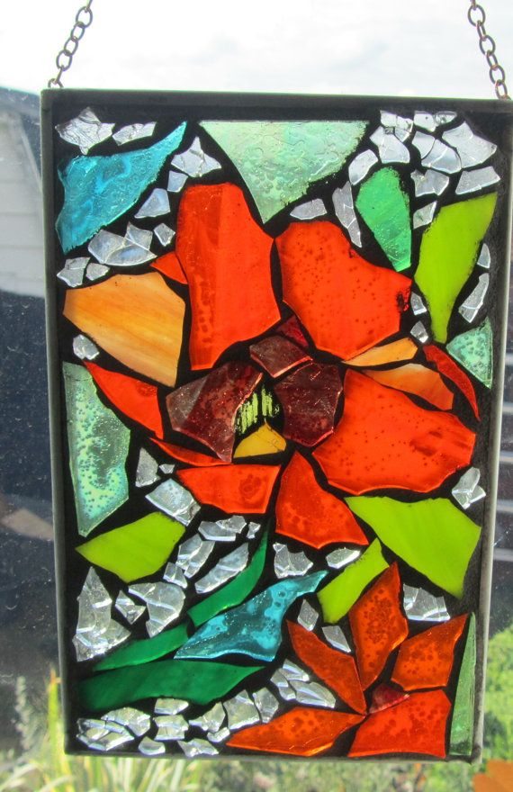 Red Mosaic Wall Decor : Stained glass mosaic bright red poppies wall art panel