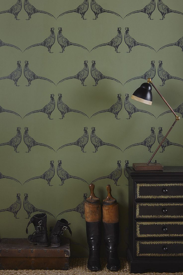 Pheasant Wallpaper Camo Green