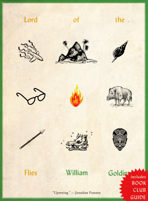 "Lord of the Flies + the cover doubles as a handy ""symbolism"" primer for middle school student readers!"
