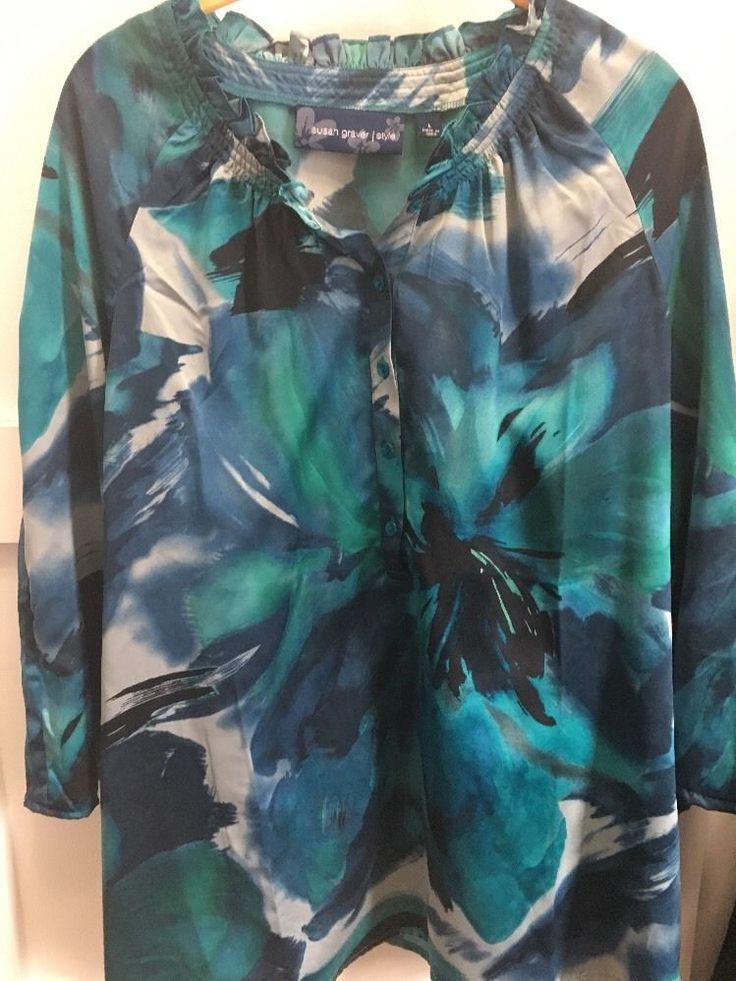 QVC Susan Graver Turquoise Green Blue Floral Blouse Sz Large Tunic PB #SusanGraver #Blouse #Career
