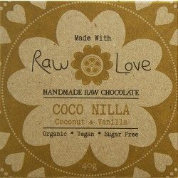 Raw Love Chocolate - Organic Cold Pressed Cacao Powder & Cacao Butter, Organic Erythritol, Organic Coconut Butter, Organic Lucuma, Organic Coconut Oil, Organic Vanilla Bean, Organic Coconut Flakes, Organic Luo Han Guo & Sea Salt
