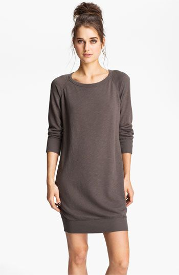 James Perse Raglan Sleeve Sweatshirt Dress | Nordstrom    I don't love it on the model, but I do love the dress. With leggings and boots or flats? Awesome.