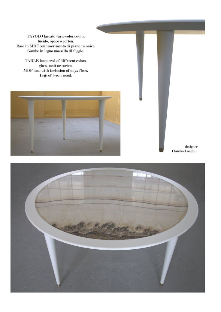 Table Twist Table Measures: diameter 130 cm; lacquered in different colors, glossy or matt. MDF base with inclusion of onyx floor. Legs of beech wood.