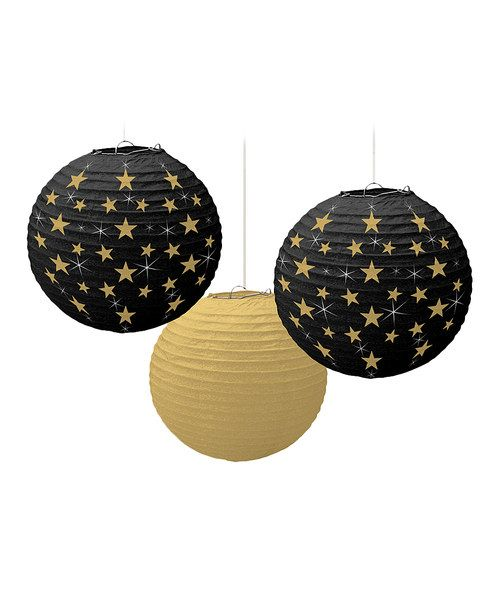 Hang these gorgeous paper lanterns from the ceiling for a truly stellar party. Featuring glamorous gold and black designs, they kick any Hollywood-themed party into gear.