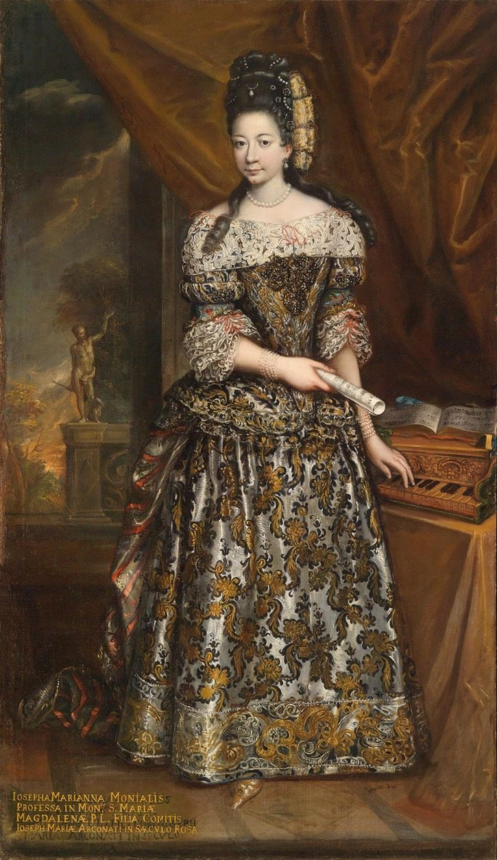 Contessa Rosa Arconati Countess Rosa's coiffure is a tour de force of later 1600s coiffure without a Fontanges headdress. Her dress is sumptuous.