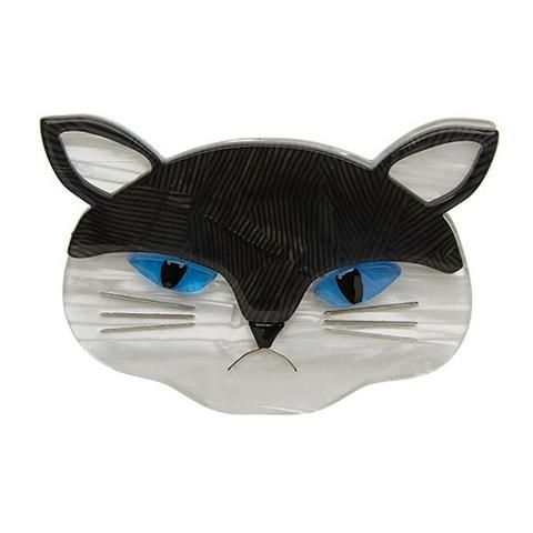 """Erstwilder Limited Edition Sour Puss Brooch. """"'Show some affection' they say. Is that all us cats are good for? If only they knew what was going on behind these blue eyes."""""""