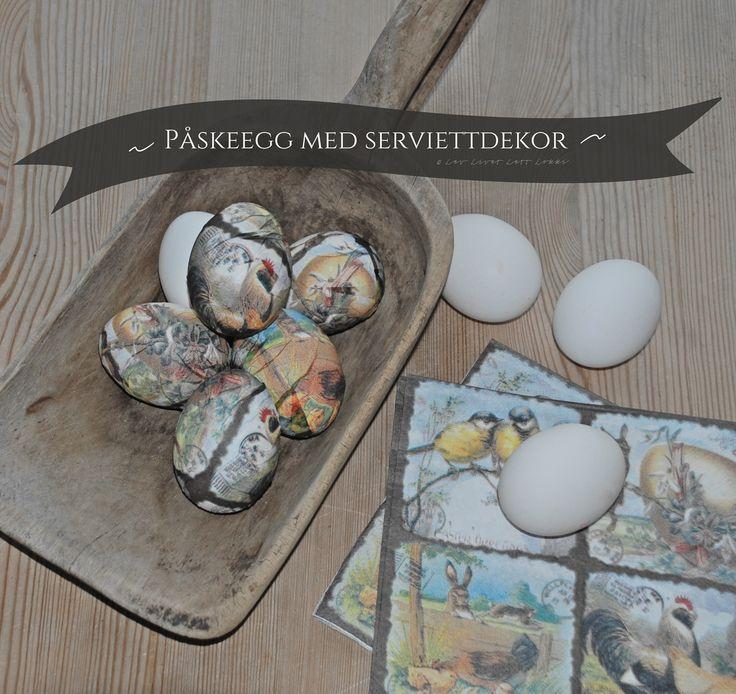 Vil du lage noen dekorative påskeegg, så skal jeg vise deg hvordan du kler kokte egg (med skallet på!) med servietter!Vet du, det er så enkelt og du trenger ikke være pirkete og nøye i det hele tatt – for selv med bukler og humper blir det SÅ dekorativt og fint lell. Du trenger: Hardkokte...Continue