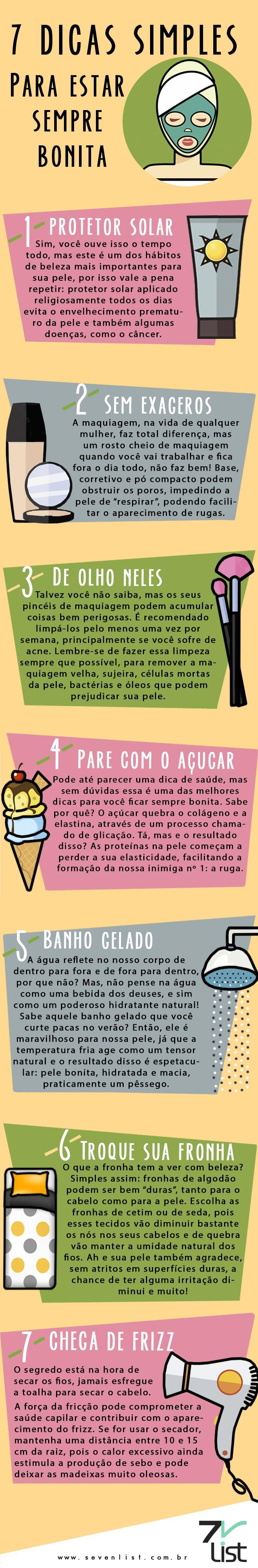 #Beleza #Infográfico #Infographic #Design, #Maquiagem #Makeup #Pele #Skin #Cabelo #Hair #Açúcar #Protetor Solar #Fronha #Pínceismaquiagem #Secador #Dicas #7dicas #Banhogelado www.sevenlist.com.br