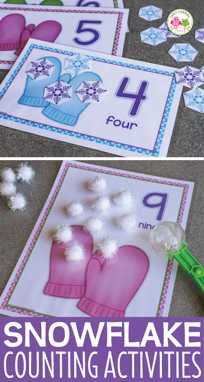 Snowflake math activities for preschool, pre-k and kindergarten.  Snowflake number mats help kids with counting, numeral recognition, one-to-one correspondence, numeracy, number sense, composing and decomposing numbers, and simple addition.  Perfect for your snow theme, winter theme, mitten theme and lesson plans.  Works well with Jan Brett's The Mitten study.  Winter math activities and winter counting for kids.