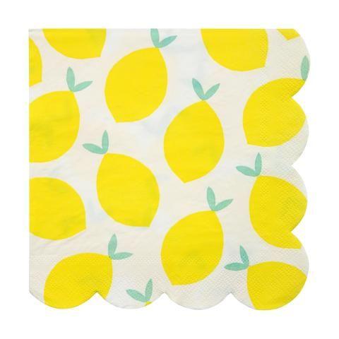 Green Leaf Lemon Party Paper Party Napkins Birthday Party Yellow Lemon Lemonade Stand Summer Party Lemon Napkins Baby Shower