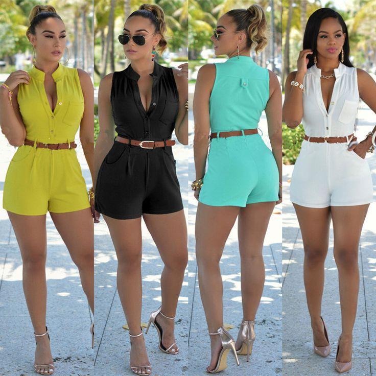 Mode d'été Femmes Combishort Barboteuses Sexy Femmes Salopette Courte Moulante Sans Manches Combinaisons Combinaison Femme Combineur LJ3911M