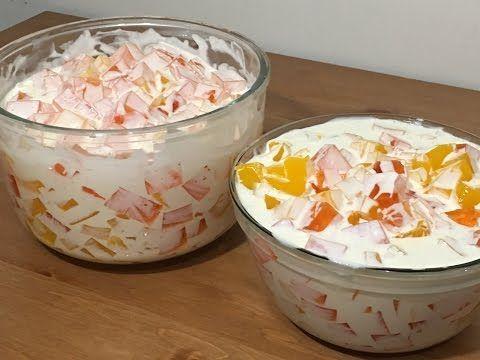 Ensalada Navideña de Gelatina y Frutas con Yogurt - YouTube