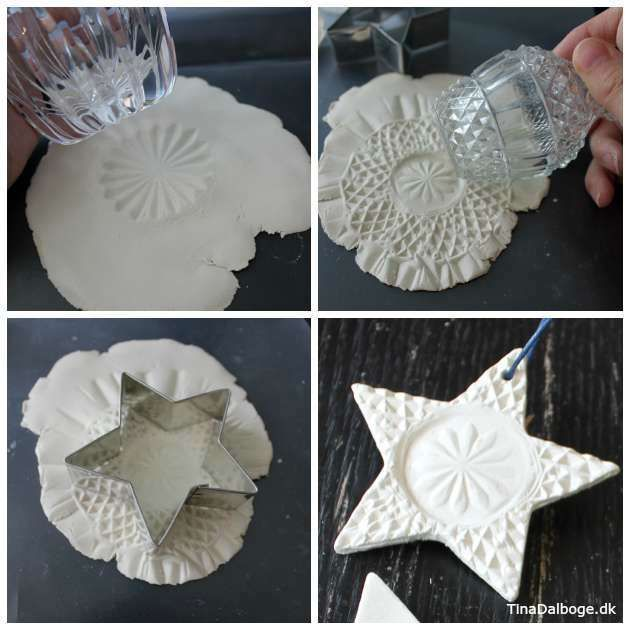 DIY – Hvide stjerner – i hvidt ler med fint mønster (Tina Dalbøges kreative påfund)