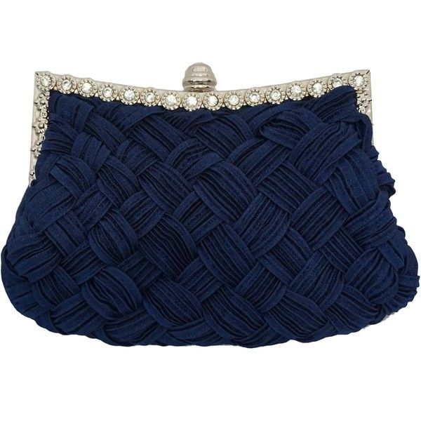 Navy Blue Bridal Pleated Clutch bag ($30) ❤ liked on Polyvore featuring bags, handbags, clutches, purses, bridal handbag, bridal purse, navy blue clutches, blue purse and navy blue handbags