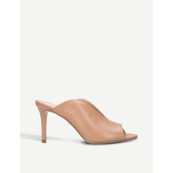 Kurt Geiger London Broadwick leather heeled mules ($170) ❤ liked on Polyvore featuring shoes, peep toe mules shoes, peep-toe shoes, kurt geiger, mule shoes and peep toe mules