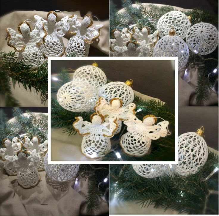 Set on a Christmas tree (3 angels, 3 baubles) by Niezapominajkinet on Etsy