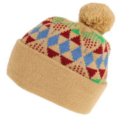 Bobble Hat Diamond Patterned Beige - Vintage clothing from Rokit - wooly hat, bobble hat