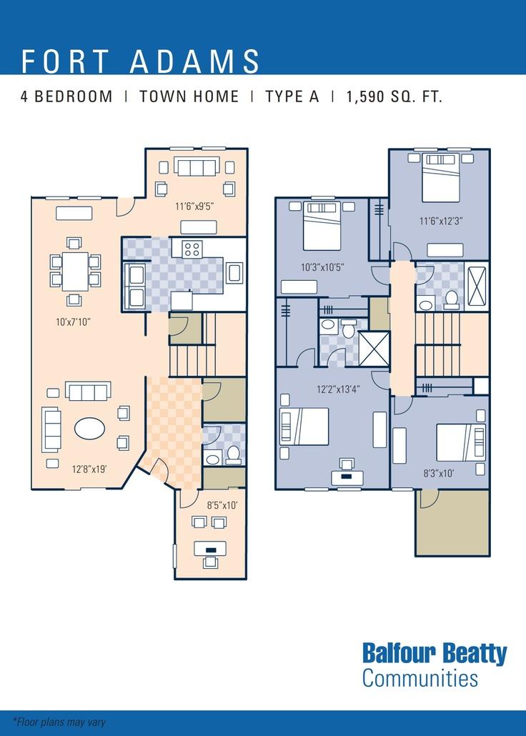 Ns newport fort adams neighborhood 4 bedroom townhome for 110 sq ft bedroom design