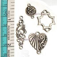 60 шт своими руками браслеты ювелирные изделия выводы цветок в форме сердца металл винтажный серебро смешанный коннектор для ювелирные изделия