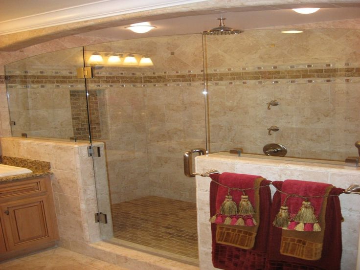 Fascinating Walk In Shower Ideas For Your Best Modern Bathrooms: Walk In Shower Ideas With Lighting Lamp And Large Glasses And Grey Ceramic Floor For Modern Bathroom Decor