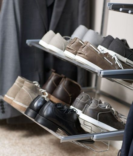 elfa shoe storage rack for flats, storing mens shoes and for storing your training shoes