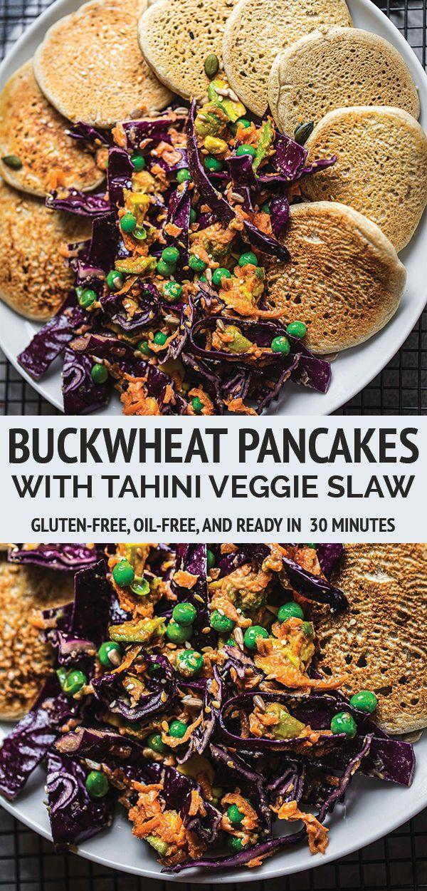 Vegan Buckwheat Pancakes With Tahini Veggie Slaw Earth Of Maria Savory Vegan Vegan Buckwheat Pancakes Vegan Recipes Easy