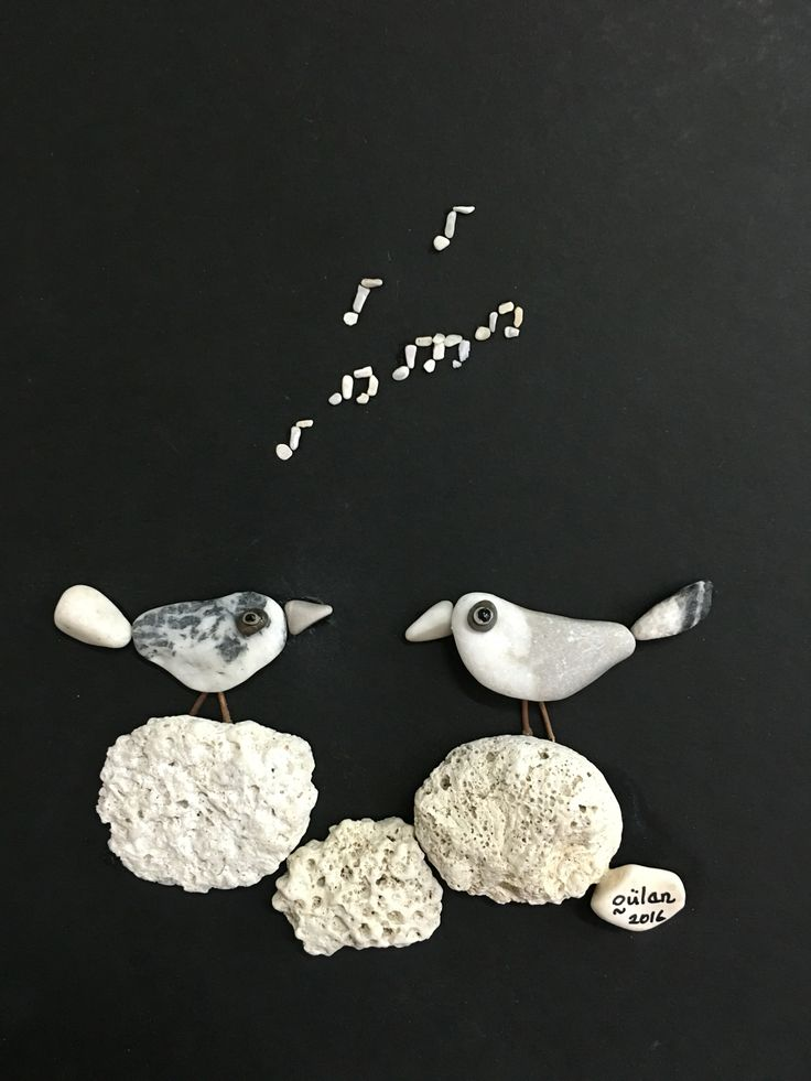 Pebble art singing birds (gülen)
