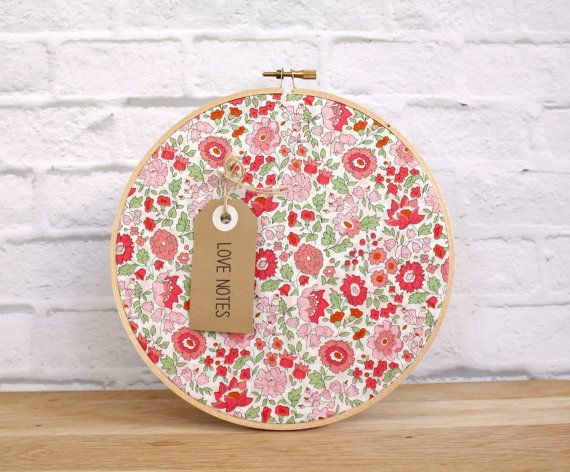 Embroidery Hoop Cork Board made with real cork and authentic Liberty of London fabric, 3 pearly push pins and strap to hang included . A lively and