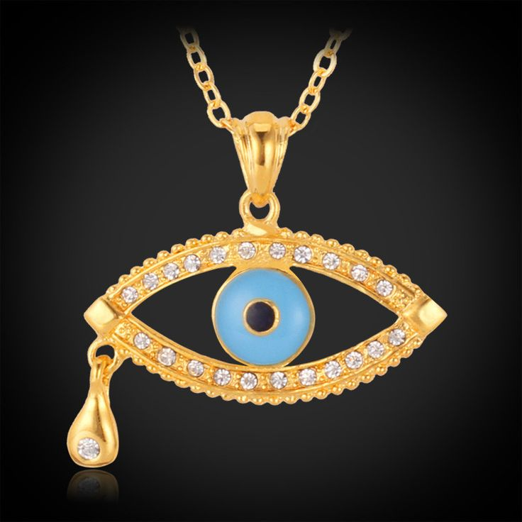 Evil Eye Pendant & Necklace for Men & Women 18K Gold Plated Jewelry 1150