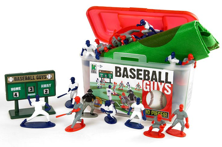 Baseball Guys and thousands more of the very best toys at Fat Brain Toys. 26 baseball figures take their positions on the felt baseball field mat. Posed for action, these players are precisely made with detailed faces and uniforms. 26 players, 2 teams and an adjustable scoreboard. Let's play ball!