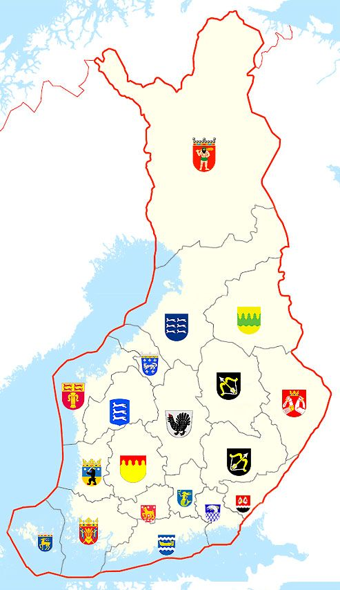 Interactive map of 19 regions of Finland