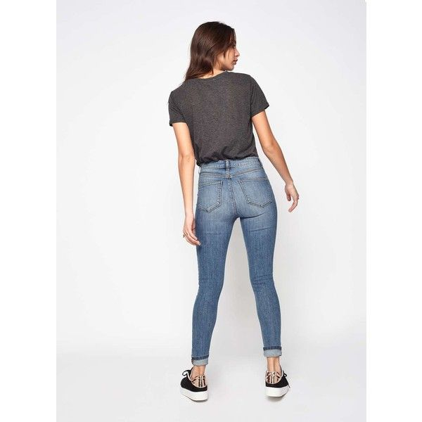 Miss Selfridge LIZZIE Light Wash Jeans (700 ZAR) ❤ liked on Polyvore featuring jeans, denim, super skinny jeans, super stretch skinny jeans, light wash skinny jeans, white jeans and skinny jeans