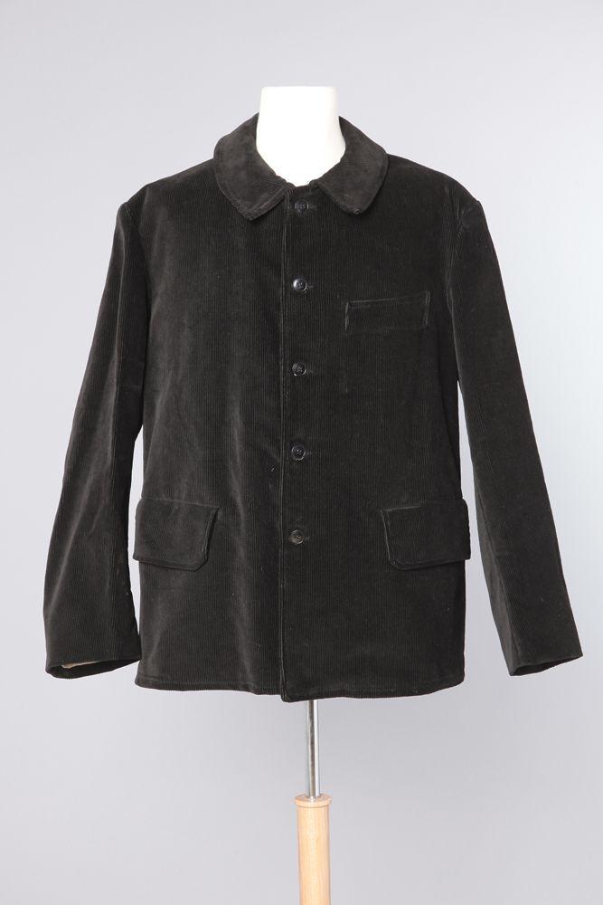 Veste d'homme 1900 en velours épais côtelé noire