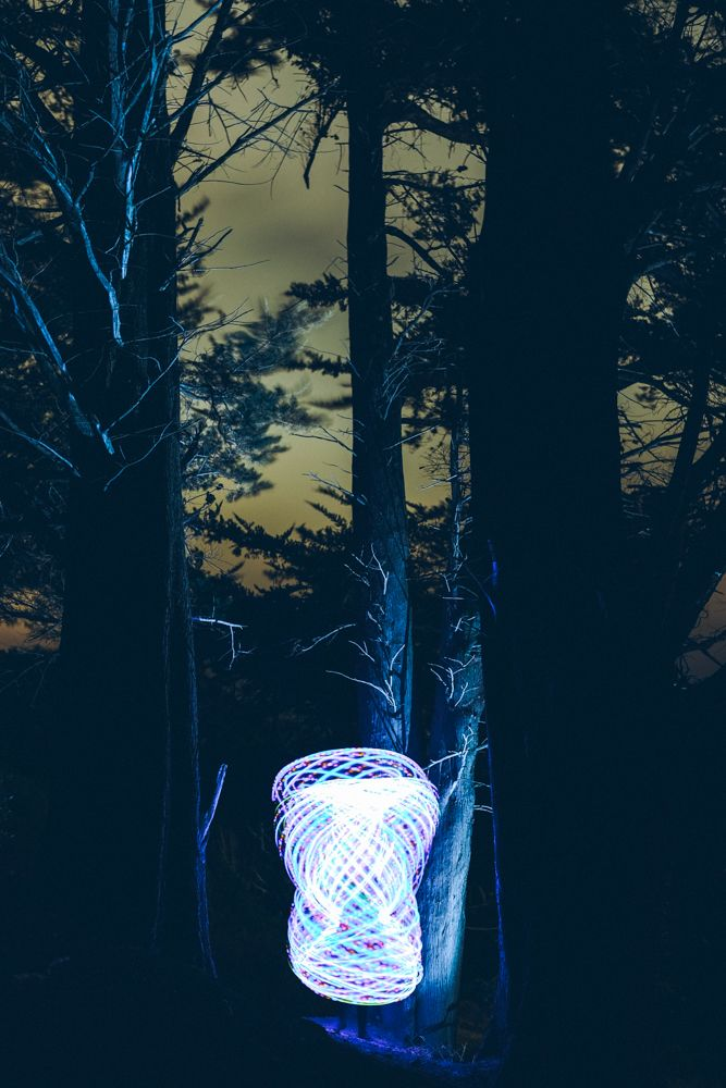 | cocoon in the woods |  #LongExposure #Fujifilm #xt1 #23mm #lightpainting #HulaHoop #mountvictoria #Wellington  Complete photo shoot available on my website (see profile for link)
