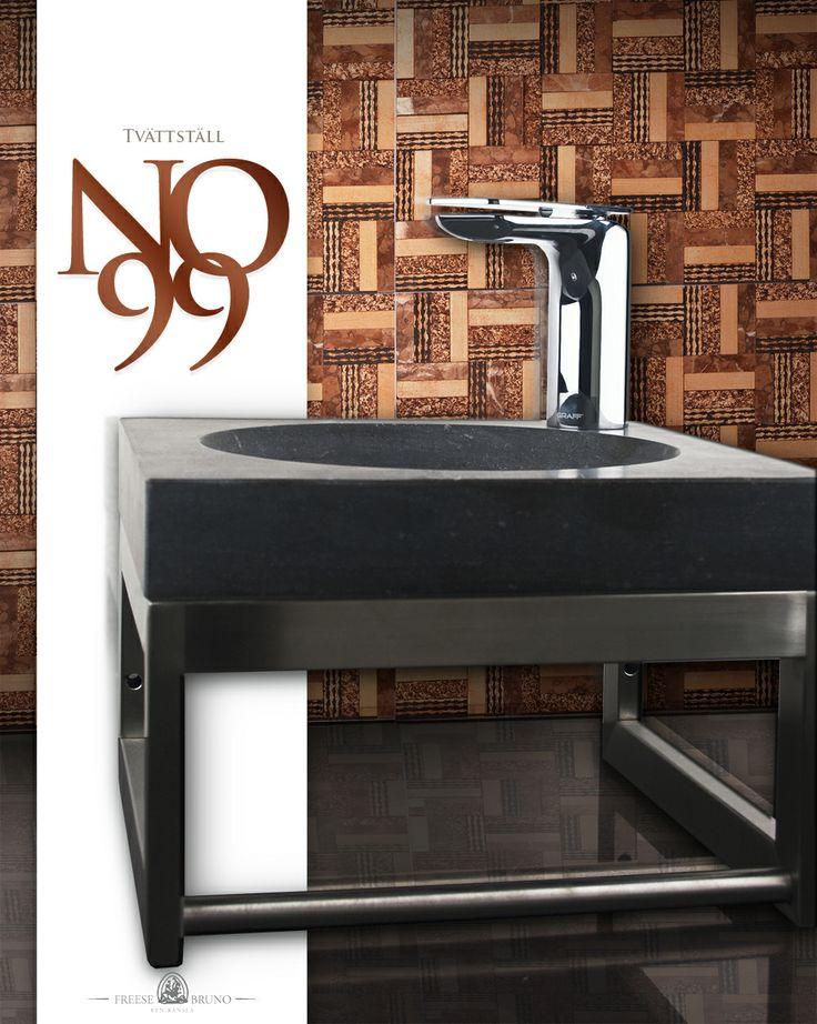 Tvättställ no99, Tvättställsblandare no1  och 5x5 Rimino mosaik no12.