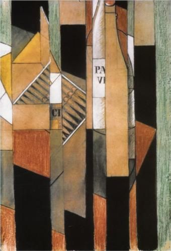 Juan Gris (1887 - 1927)   Synthetic Cubism   Still Life with Bottle and Cigars - 1912    Synthetic Cubism is the late phase of cubism, characterized chiefly by an increased use of color and the imitation or introduction of a wide range of textures and material into painting.