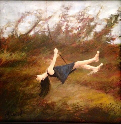 "Daily+Paintworks+-+""Swing+12+x12+oil+on+canvas""+-+Original+Fine+Art+for+Sale+-+©+David+Larson+Evans"