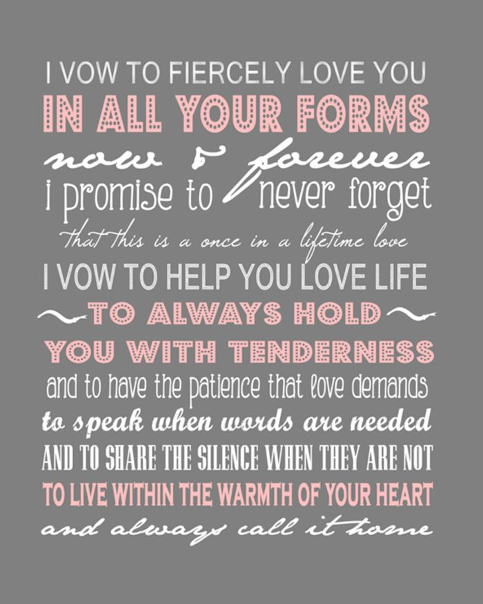 I vow to fiercely love you,