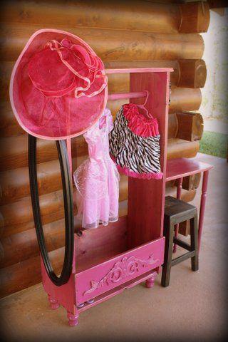 Girls Dress Up Closet With Vanity Desk