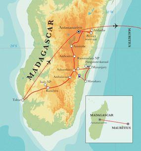 De unieke flora en fauna van Madagascar vinden we terug in de prachtige nationale parken van Périnet, Ranomafana en Isalo. Wandelend in het spectaculaire regenwoud gaan we op zoek naar tropische dieren en prachtige flora. De thermale baden van Antsirabe lenen zich voor een ontspannen uurtje. Met de witte stranden, azuurblauw water en de prachtige koraalriffen van Mauritius besluiten we deze rondreis.