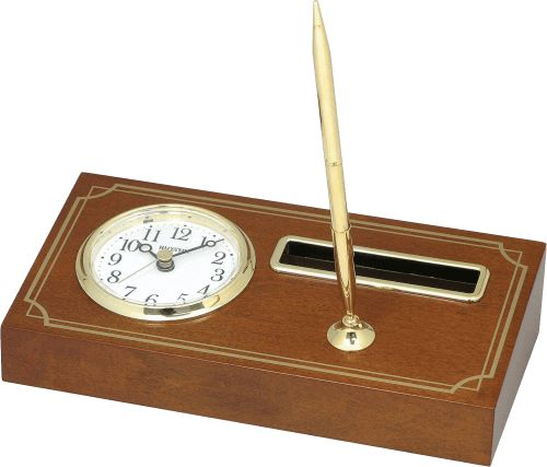 Office Table Clock incl. Pen  Wooden Case  23 x 12cm  1 AA Battery included  1 Year Guarantee