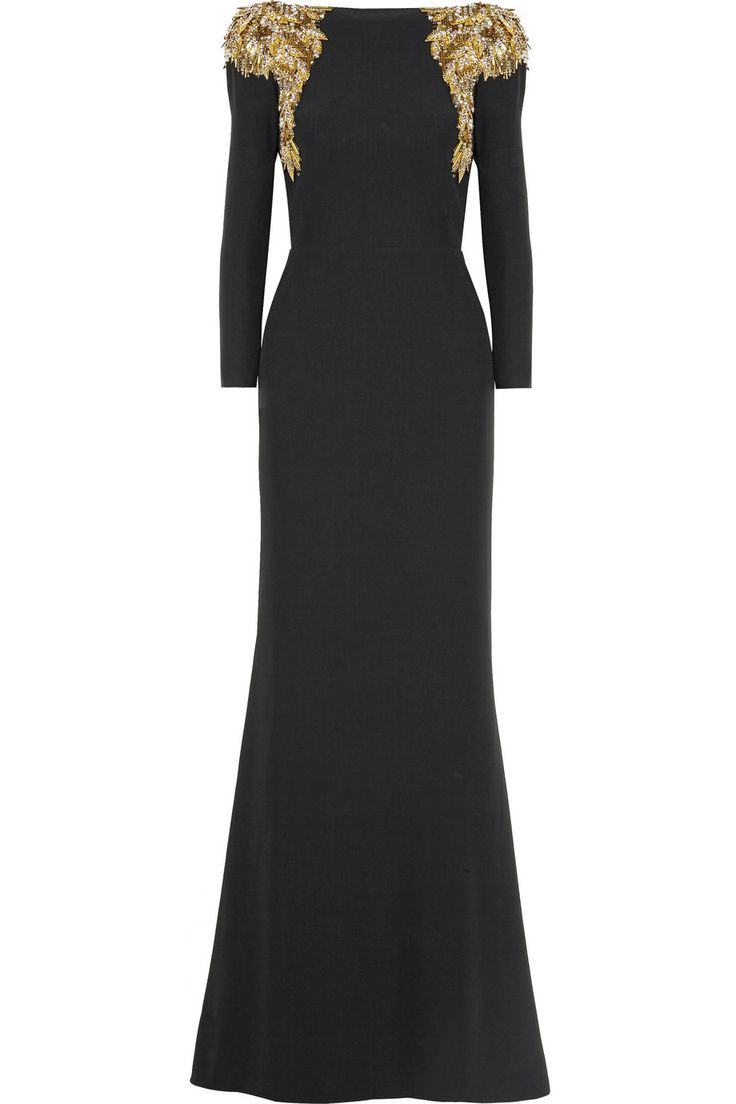 Alexander McQueen|Embellished crepe gown|NET-A-PORTER.COM