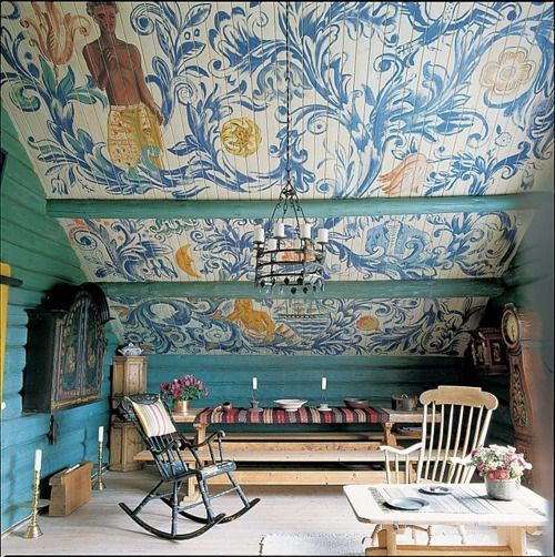 wondrous ceiling to get lost inRocks Chairs, Ceilings Treatments, Scandinavian Design, Folk Art, Swedish Interiors, Attic Spaces, Children, Attic Room, Painting Ceilings
